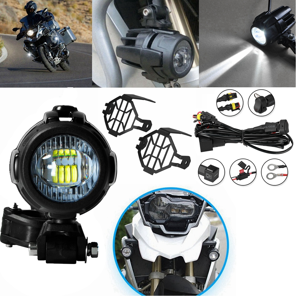 1 Set For BMW F800GS Motorcycle LED Auxiliary Fog Light Assemblie Driving Lamp 40W Headlight Universal For BMW R1200GS/ADV цена