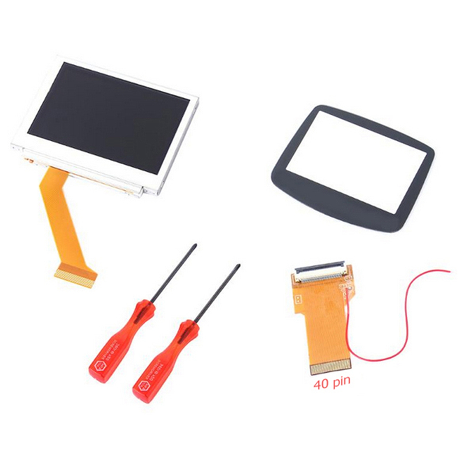 LCD Backlight Repair Kit for Nintend GBA SP AGS-101 Backlit Screen Replacement MOD LCD With 32/40Pin Ribbon Cable