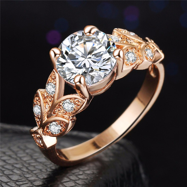 SI ME De Mariage Cristal Couleur Argent Anneaux Feuille de Fiançailles Or couleur Zircon Cubique Anneau De Mode Nouvelle Marque Bijoux Pour Femmes bijoux 4