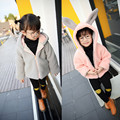 Осень зима симпатичные девушки пальто большой уха кролика розовый серый молнии с длинным рукавом толстая капюшоном девушка куртка теплая верхняя одежда детей одежда