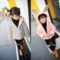 Otoño invierno linda chica abrigo grande del oído de conejo rosa gris cremallera manga larga con capucha gruesa chaqueta de la muchacha niños outwear caliente ropa