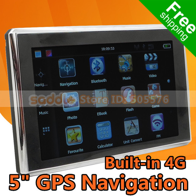 GPS Navigator , Car GPS Navigation System with 5 inch HD 800*480 + Bluetooth + AV-IN + FM Transmitter + Built-in 4GB + Map