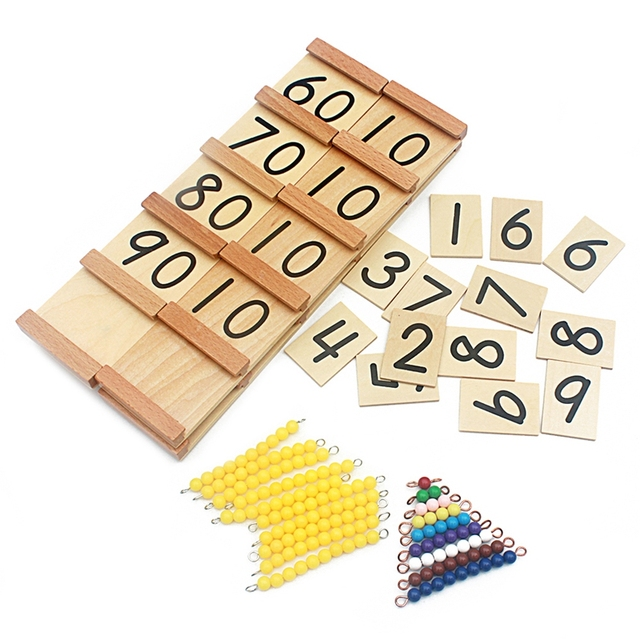 Simple Version Montessori Wood Seguin Teens and Tens Boards Color Beads Bar Toys For Children Early Childhood Preschool Training