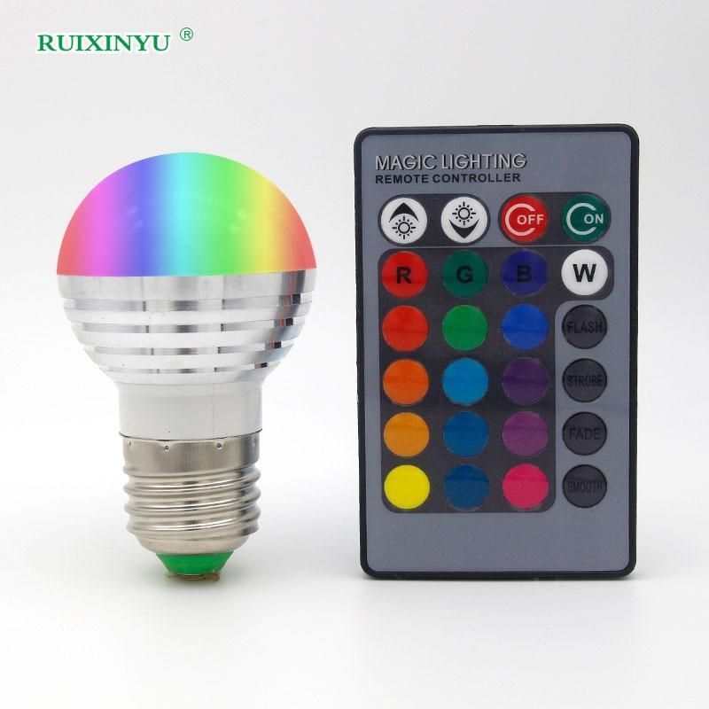 Remote Control Color Lamp E27rgb Color Light Bulb Ac110v