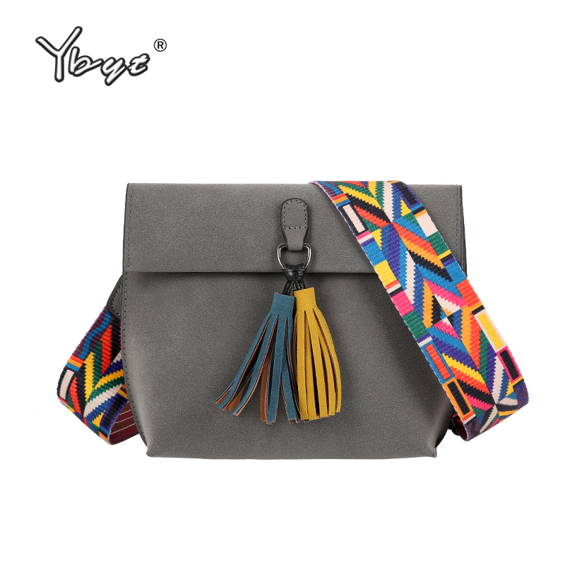 YBYT brand new vintage casual women Scrub Leather messenger bag ladies colorful strap shoulder pack female tassel crossbody bags