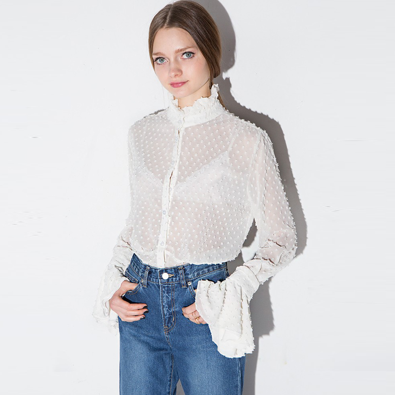 Buy 2017 new women white lace cut out for Stand collar shirt womens
