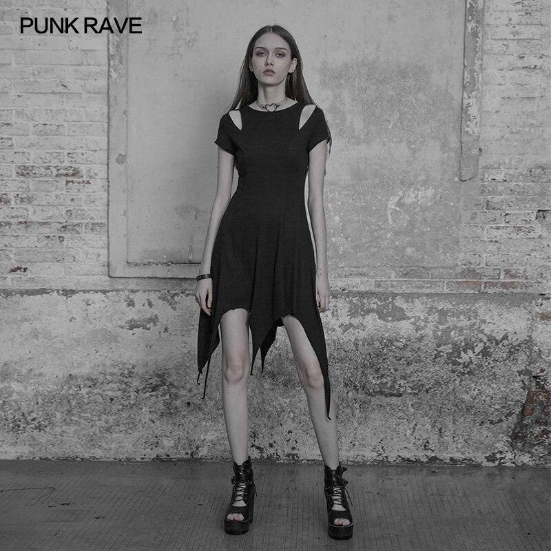 PUNK RAVE Gothic Lolita Women Black Dresses Casual Slim Fitting Off Shoulder Sexy Dress Steampunk Irregular Hem Women Dresses