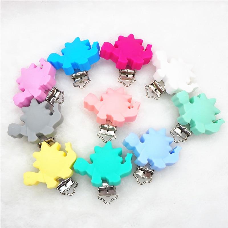 Chenkai 10pcs Silicone Dinosaur Clips DIY Animal Baby Teether Pacifier Dummy Montessori Sensory Jewelry Holder Chain
