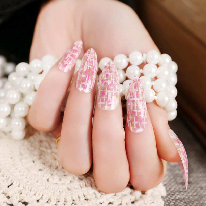 Long Pointed False Nail Art Tips Fake Finger Nails Plastic Manicure