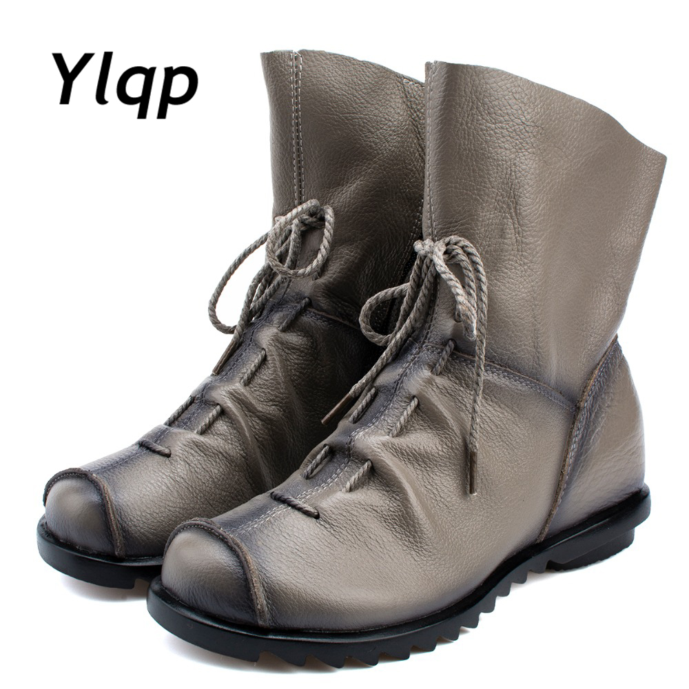 Plus Size Genuine Leather Women Boots Autumn Winter Fashion Pleated Ankle Boots Warm Soft Outdoor Casual Flat Shoes For Ladies high heels