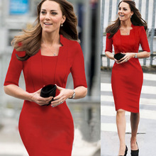 JENYAGE Women Elegant Half Sleeves Summer 2019 Stand Collar Work Office Lady Evening Party Kate Fashion Knee Length Formal Dress