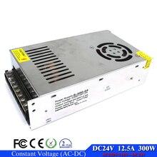 Регулируемый 300 Вт 12.5a 24 В Питание DC24V трансформатор 220 В 110 В переменного тока в smps постоянного тока для Светодиодные полосы свет ЧПУ CCTV Motro 3D-принтеры