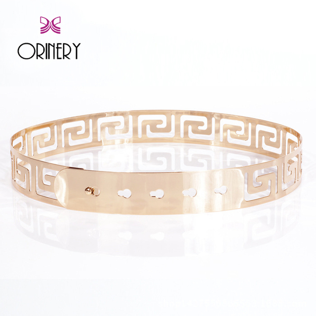 ORINERY 2017 Luxury Brand Belts Women Fashion Brand Metal Women Belt High Quality Hollow Out Square Golden Wasitband Gift