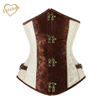 Brown and Lvory Underbust Corset  Goth Buckle Highest Quality Flowers Pattern Steampunk Corset - DISCOUNT ITEM  0% OFF All Category