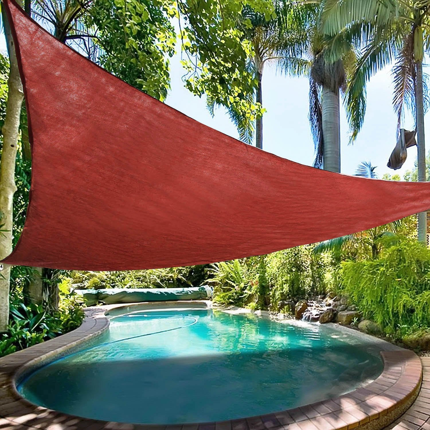 Jinguan Shade Sail UV Block Fabric Patio Outdoor Canopy Sun Shelter With  5ft PE Ropes And Steel D Rings 12x12x12ft Trangle In Awnings From Home U0026  Garden On ...