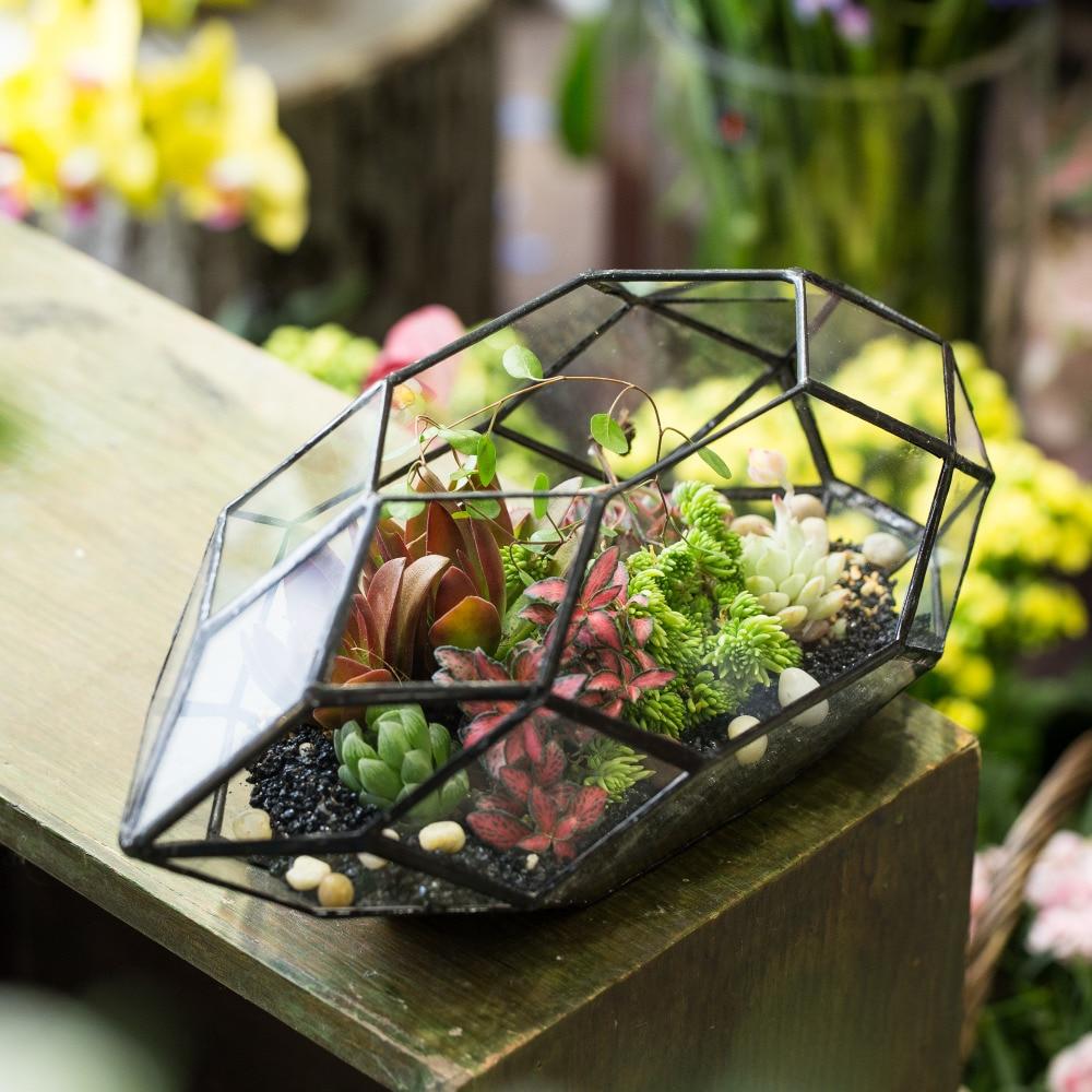 Χειροποίητο Μεγάλο Ακανόνιστο Πολυεδρικό Γεωμετρικό Γυαλί Terrarium Πλαίσιο Φανάρι Succulents Φυτικά φυτά Φυτά Holder Μπονσάι Γλάστρα
