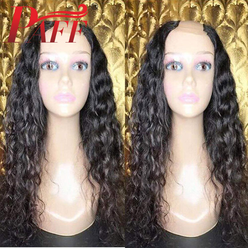 PAFF Curly Human Hair U Part Wig Glueless Brazilian Remy Hair Natural Black Color1*4inch Openning Middle Part Wig With Baby Hair