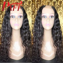 PAFF Curly Human Hair U Part Wig Glueless Brazilian Remy Hair Natural Black Color1*4inch Openning Middle Part Wig With Baby Hair(China)