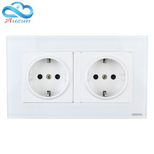 European Standard Double Wall Switch German Socket Tempered Glass Panel 86 Purpose 16A