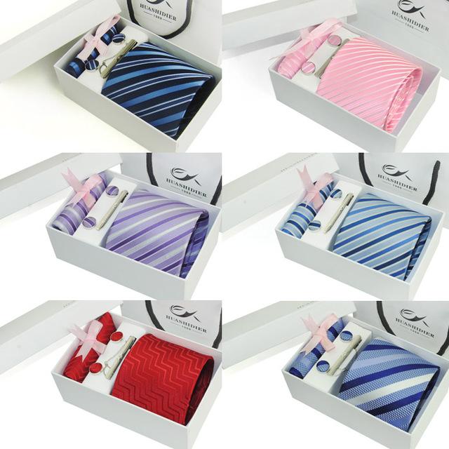 Neck Set Tie mens presente caixa lenços de lenço abotoaduras laço dos homens de 2016 listrado Gift Set : laço + botão de punho + Clip + lenço + Gift Box