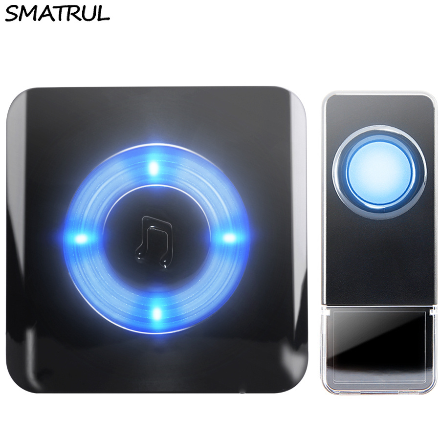 SMATRUL Waterproof Wireless Doorbell EU Plug 300M range home Door Bell ring chime 1 emitter 1 receiver LED light Old man Deaf 7 color light flashing 16 songs 3 modes music wireless doorbell for deaf old men
