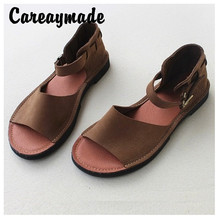 Careaymade-Ladies summer sandals,womens handmadesandals  the retro art mori girl comfortable real leather shoes,2 colors