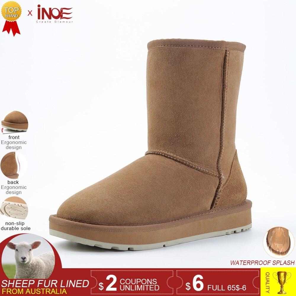 67f06e67eb INOE real da pele de carneiro camurça botas de neve de inverno para as  mulheres lã de ovelha de couro forrado de peles de inverno sapatos de alta  qualidade ...