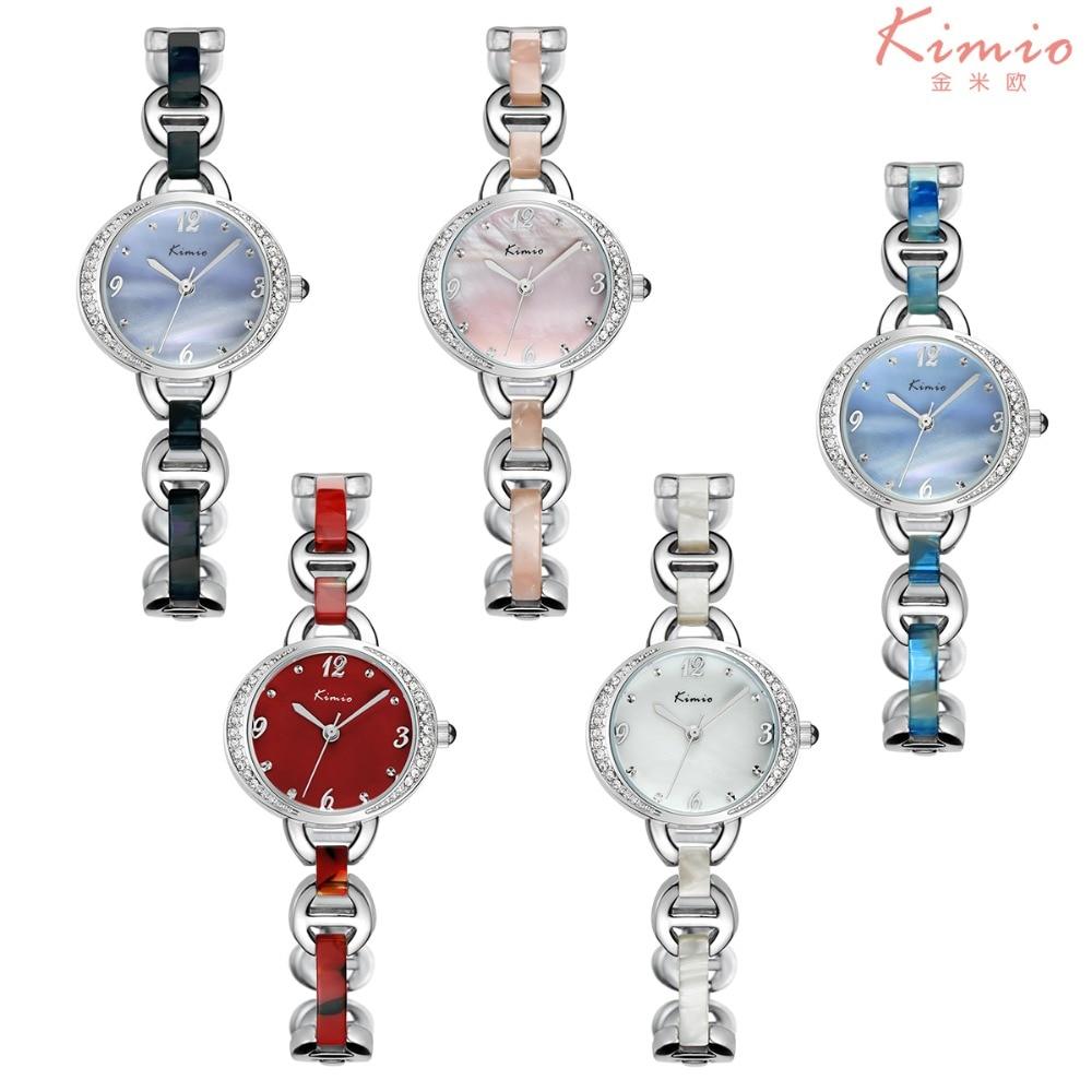 цена на 2017 New Kimio Famous Brand Watches Women Rhinestone Crystal Bracelet Ladies Quartz Wristwatches Fashion Watch Relogio Feminino