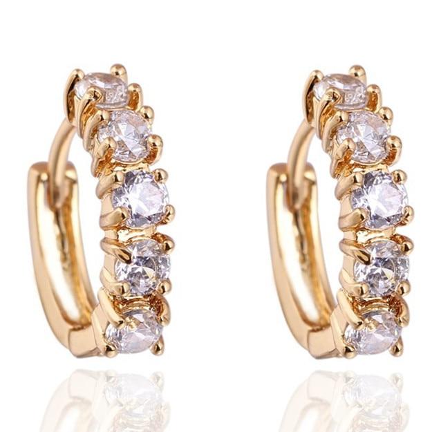 Erc455 Carina Jewelry Aliexpress 18k Gold Plated Earrings Clear Cubic Zirconia Women Fashion