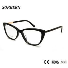 SORBERN New Women Cat Eye Optical Frames Sexy Transparent Eyeglasses Clear Lens Brand Designer Females Spectacles Eyewear