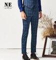 Wedding Groom Suit Pants Men Autumn Blue Plaid Super Slim Young Man Retro Autumn Winter Long Pant Business Plus Size XXS 28 - 38
