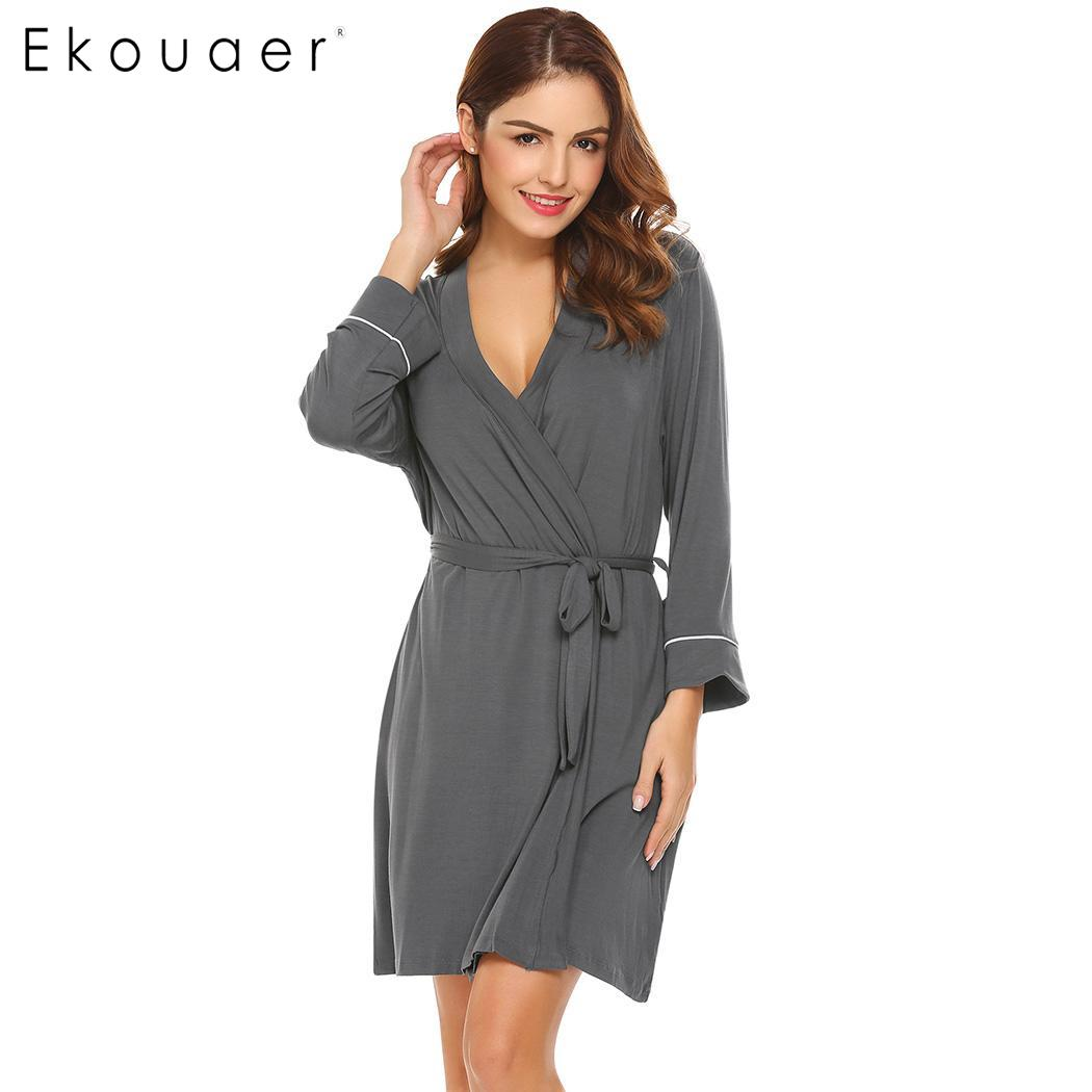 Ekouaer Women Casual Sleepwear Robe Kimono Style Bath Robes Nightwear 3/4 Sleeve Short Spa Robe Female Home Clothing 4 Colors