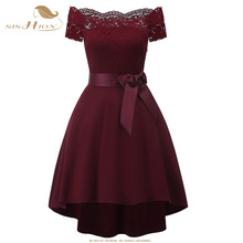 SISHION 2018 Women Lace Dress Black Dark Blue Wine Red Short Front Long Back Tunic Party Sexy Summer Dress VD0699