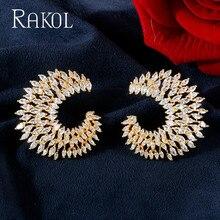 RAKOL Luxury AAA Marquise Cut ZIirconia Stud Earrings  For Women Fashion CC Shape Bridal Wedding Party Jewelry RE62035L
