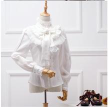 Primavera otoño Vintage Lolita Camisa de gasa de manga larga con cuello alto para mujer elegante blusa gótica femenina