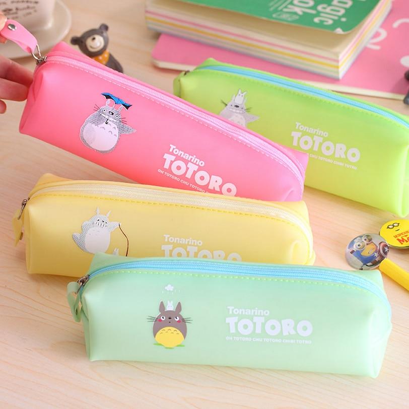 New Cute Kawaii Cartoon Totoro Pencil Case Jelly Glue Japanese Anime Pen Bag for Kids Gift Korean Stationery Free shipping 118