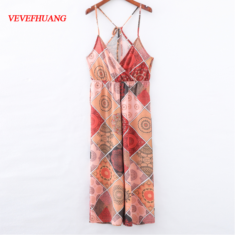 Women Summer Fashion Spliced Jumpsuits Sexy Lace Up Backless Geometric Pattern Off-Shoulder Feminine Vestidos Holiday Trousers