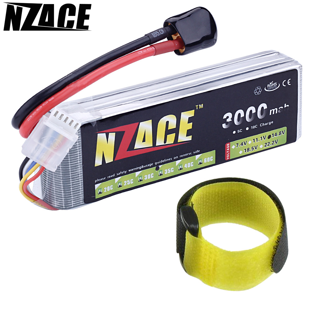 NZACE 4S lipo battery 14.8v 3000mAh 35C rc helicopter rc car rc boat quadcopter remote control toys Li-Polymer battey mos 2s lipo battery 7 4v 3300mah 35c for rc helicopter rc car rc boat quadcopter li polymer battey