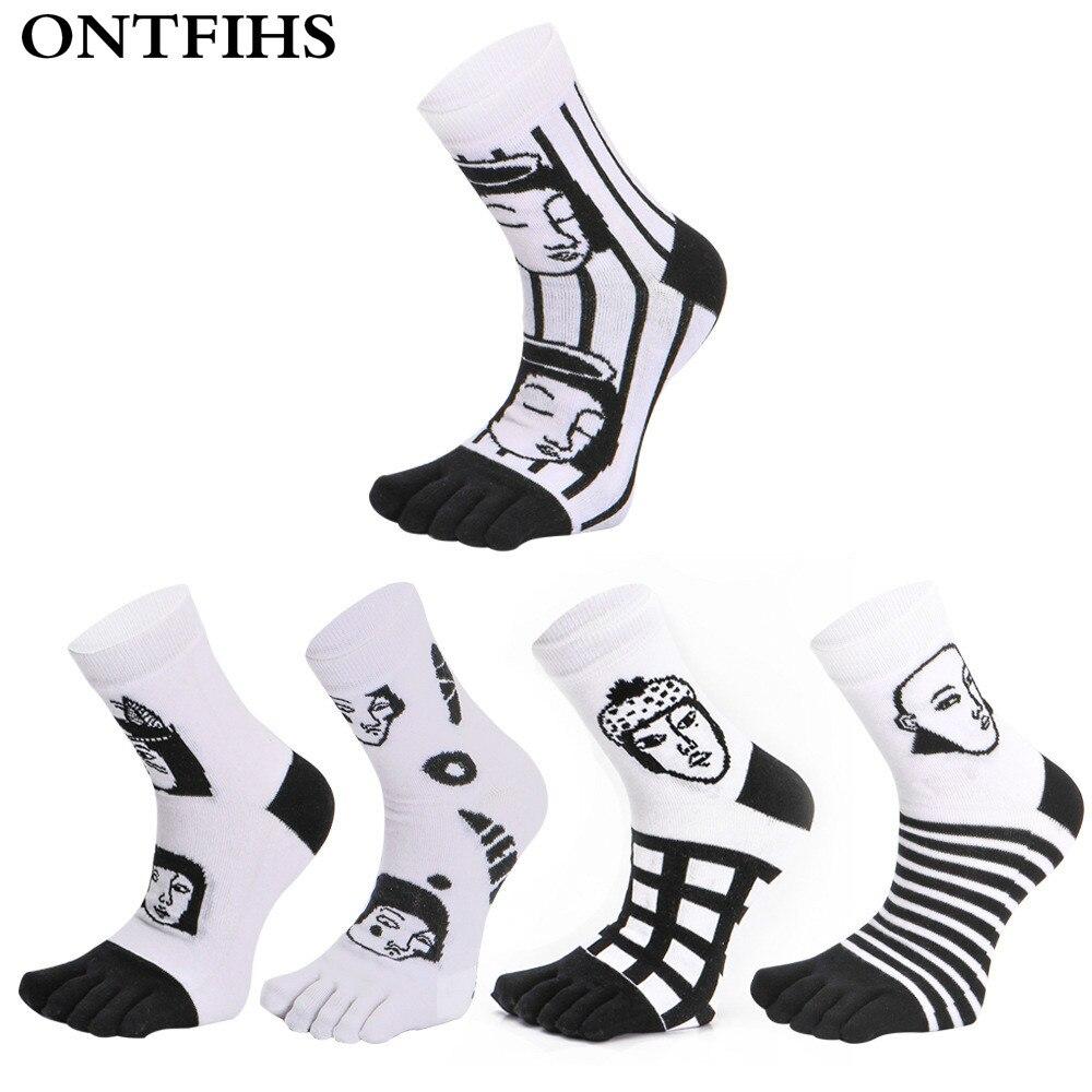 ONTFIHS Men Toe Socks Combed Cotton Socks Happy Sock Funny Vintage Business Dress Male Crew Five Finger Socks T-43
