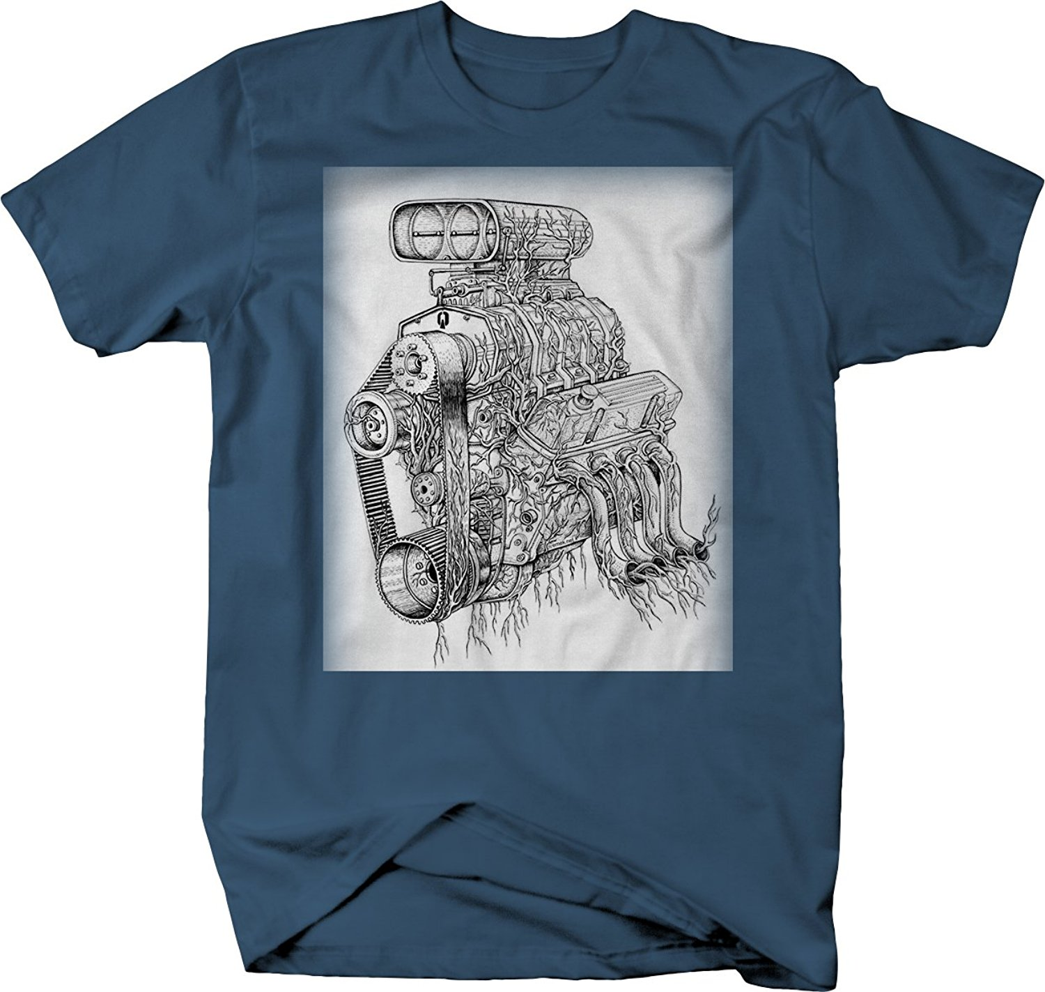 Short Sleeve Cool Casual Big Block Garage Art <font><b>V8</b></font> Supercharger Racer Motor Hotrod <font><b>Tshirt</b></font> O-Neck T Shirt Men image