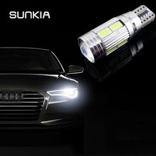 SUNKIA 2Pcs/Lot W5W T10 ERROR Free Interior White LED CANBUS 10-SMD 5630 with Lens Projector Aluminum Case bulbs Free Shipping(China)