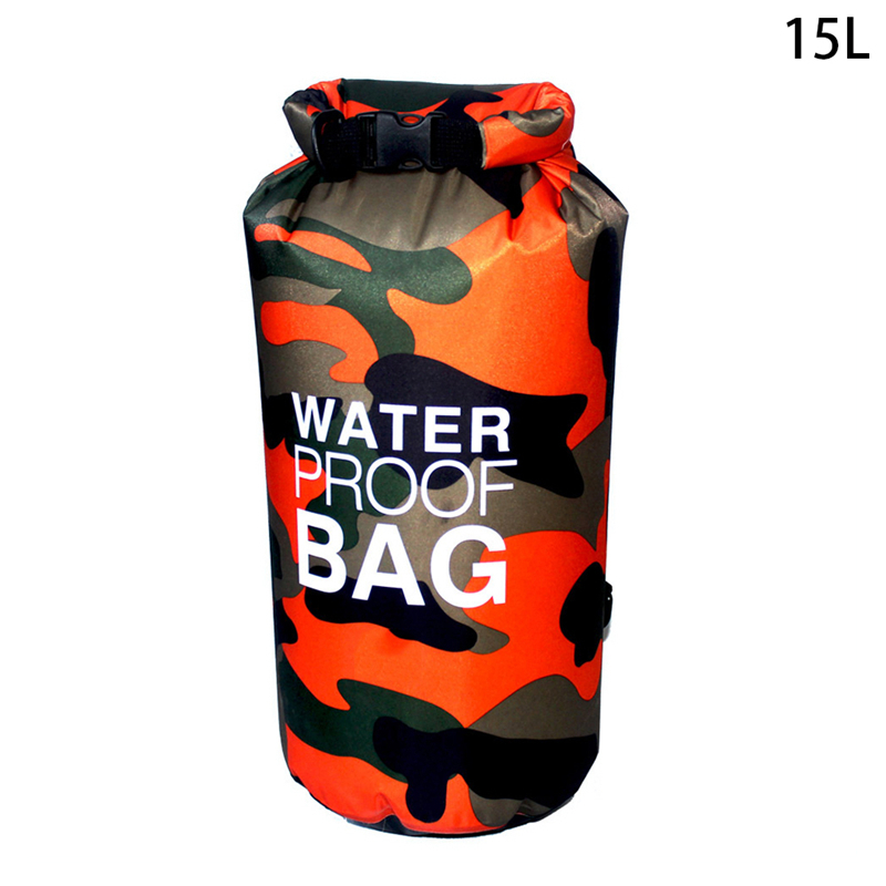 1 Pc 10L 15L PVC WWaterproof Dry Bag Outdoor Swimming Camping Rafting Storage Bag with with Adjustable Straps