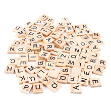 100Pcs/Pack Wooden Alphabet Scrabble Tiles Black Letters Numbers For Crafts Wood Board Games Crafts Math Letter Educational Toys(China)