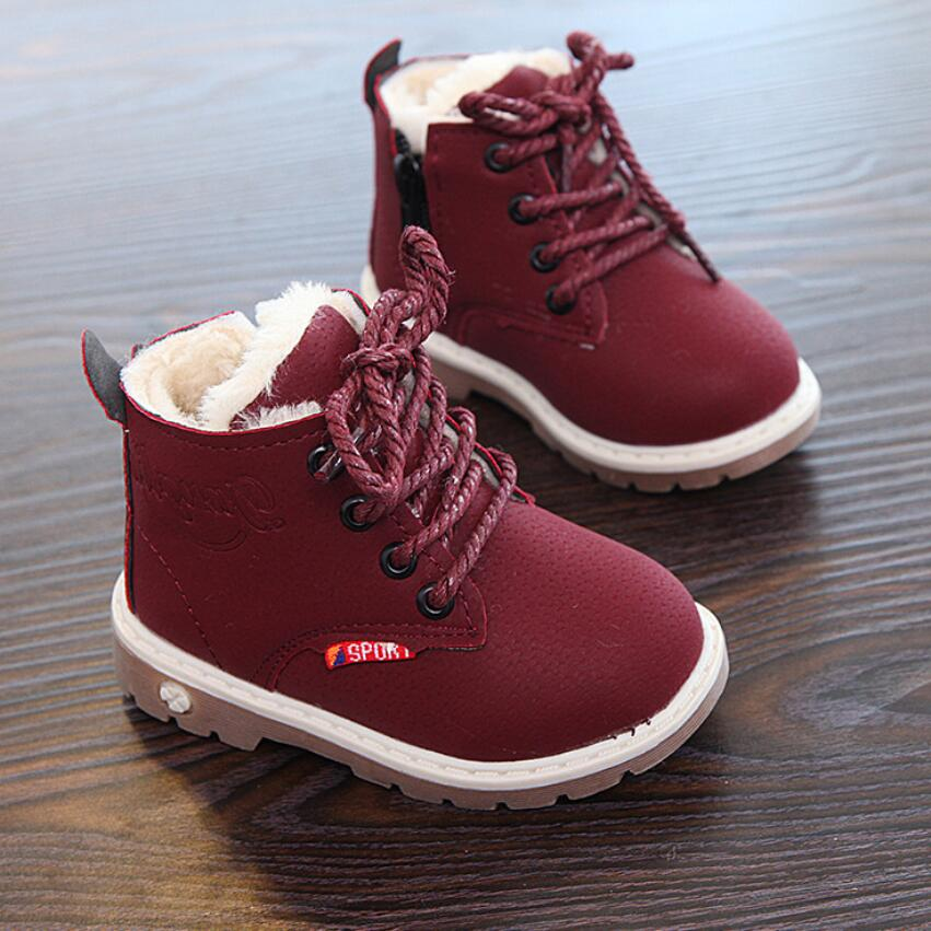 Children Boots Shoes New Winter Plush Warm Martin Boys Shoes Fashion Leather Soft Fleece Antislip Girls Boots EU 21-30