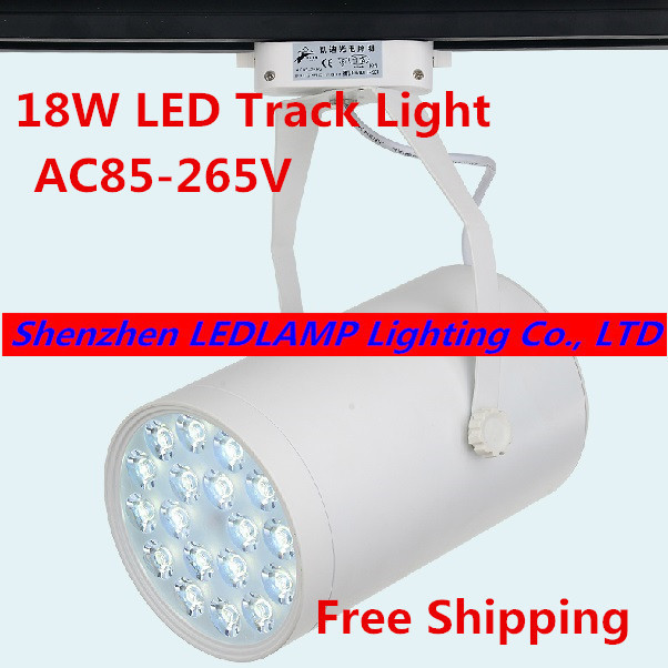 1pc High Lumens 18W High Power LED Track Light Spot Light Warm White/White/Cold White AC85-265V LED Commercial Lighting Lamp