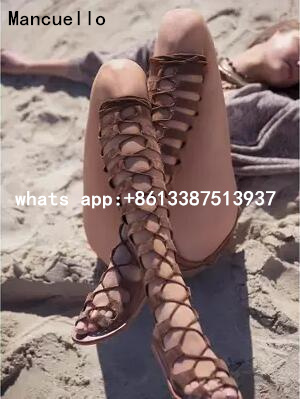 2017 Summer New Fashion Lace-Up Long Gladiator Sandals Cut-Outs Knee High Women Boots Peep Toe Plus Size Women Flat Shoes