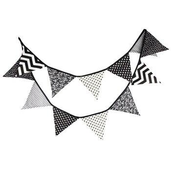12 шт 3,2 м черный флаг хлопок деревенский Свадебный баннерный баннер гирлянда для вечеринки с днем рождения украшения флаги Бар Принадлежнос...