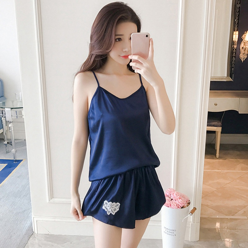 Sleeveless V-Neck Strap Nightwear   Sets   Women Silk Feeling Camis Tops   Pajama     Sets   Summer Comfort 2 PCS Homewear Suits