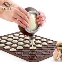 Ttlife set macaron bakplaat met decor pen 48 cirkels diy chocolade cookie mould siliconen bakken mat bitterkoekje bakvorm