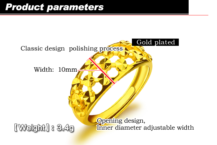 Wholesale gold color hollow carved ring simple fashion charm Woman popular ring adjustable section width 10mm Christmas gift in Engagement Rings from Jewelry Accessories